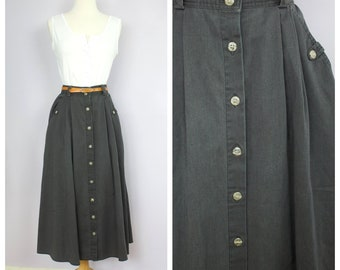 970964a0a Vintage 1980's Charcoal Gray Button Front Maxi Skirt M