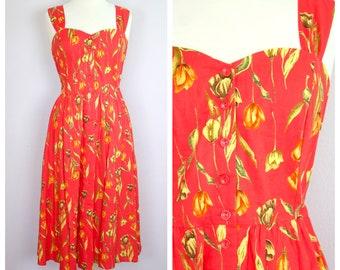 Vintage 1980's Red Floral Sweetheart Neckline Button Front Sun Dress M/L