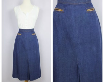 cdda26f18fe Vintage 1970 s Denim Blue Jean Midi Skirt Contrast Trim Pockets Front Pleat  M