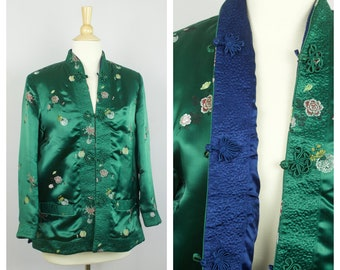 Asian style Cheongsam jacket pointed sleeves oriental jacket Vintage Chinese jacket green silk jacket mandarin collar elegant jacket