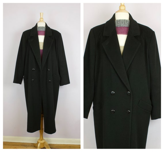 Vintage 1980's Black Wool Double Breasted Oversize