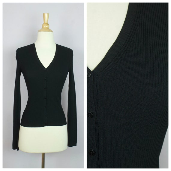 Vintage 1990's Black Ribbed Knit Long Sleeve V Nec