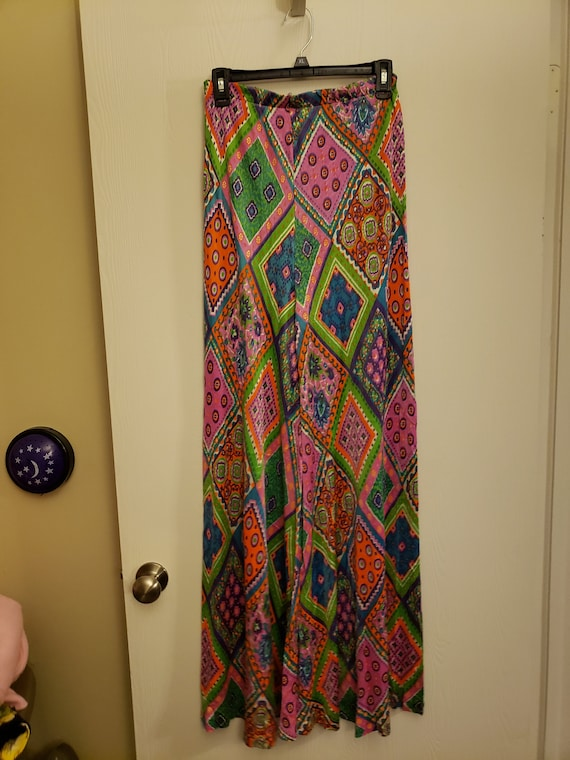 1970s multicolored flare womens pants
