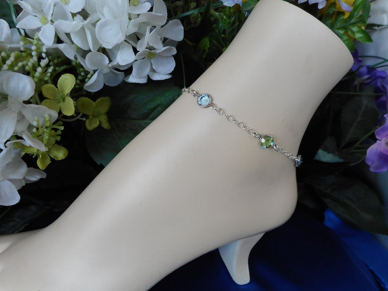Birthstone Anklet-Sterling Silver Family Anklet-Sterling Silver Anklet-Mother\u2019s Birthstone Anklet-7 Birthstone Anklet-Custom Anklet-Anklet