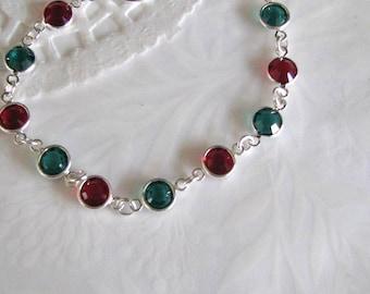 Christmas Bracelet, Holiday Bracelet, Christmas Jewelry, Swarovski Christmas Bracelet, Red and Green Bracelet