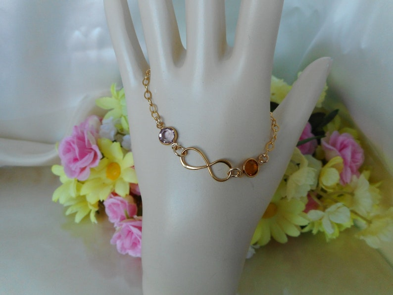 Birthstone Bracelet-Mothers Infinity Gold Fill Birthstone Bracelet-Infinity Mothers Birthstone Bracelet-Custom Gold Filled Bracelet