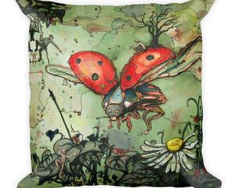 Ladybug, Fly Away by Dan Colcer - Art Pillow