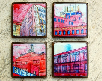 Glass Coasters featuring Dallas Landmarks - Historic West End (set 3/3)
