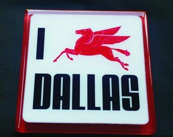 """I """"love"""" Dallas - Pegasus Glass Coaster"""