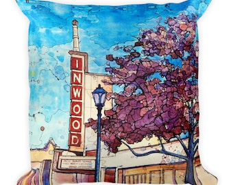 Inwood Theater by Dan Colcer - Art Pillow