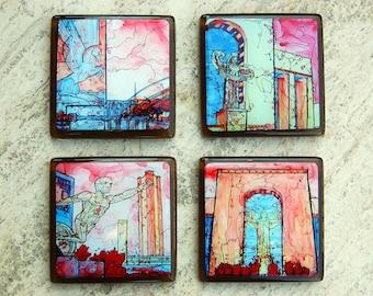 Glass Coasters featuring Dallas Landmarks - Esplanade at Fair Park