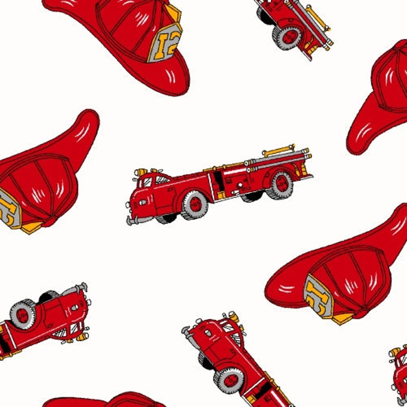 98ba1956859f7 06495- Springs Creative cotton Firetrucks and hats in red and white - 1/2  yard
