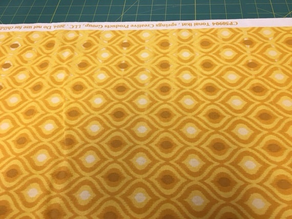 b701f45242b63 06333 - Springs Creative Products Quilting Basics Ikat in Golden color -  1/2 yard small defect running thruout
