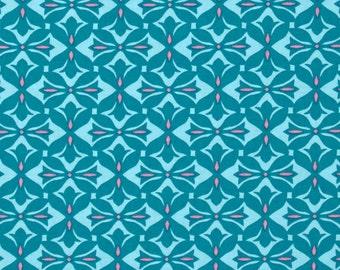 11307 Amy Butler Dream Weaver Cross Print in Teal color - 1/2 yard