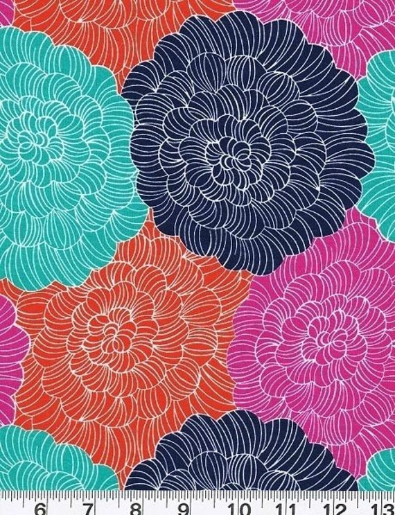 ca900f65f7a08 06477- Springs Creative Products Zoey floral in navy - 1/2 yard