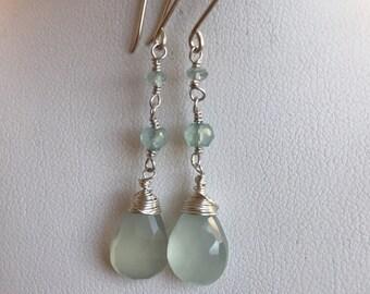 Pale Aqua Chalcedony Earrings, Seafoam Green Chalcedony Earrings, Aqua Bridesmaid Earrings, Wedding Jewelry, Aqua Blue Prom Jewelry,