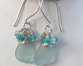 Pastel Blue Seaglass Earrings, Beach Jewelry, Mermaid Jewelry, Beach Bride, Seaglass and Gemstones, Blue Beach Earrings, Something Blue