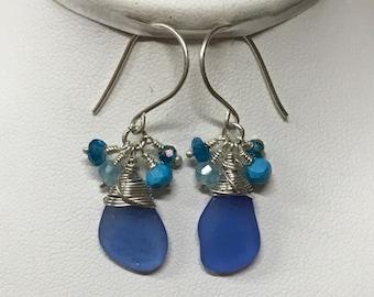Cornflower Blue Seaglass Earrings, Beach Jewelry, Mermaid Jewelry, Beach Bride, Seaglass and Gemstones, Blue Beach Earrings, Something Blue