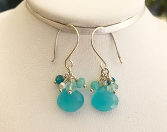 Bright Turquoise Chalcedony Dangle Earrings, Something Blue, Bridesmaid Earrings, Prom Earrings, Gifts for her