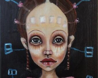 Original, art, figurative, abstract, future, girl, biology, painting