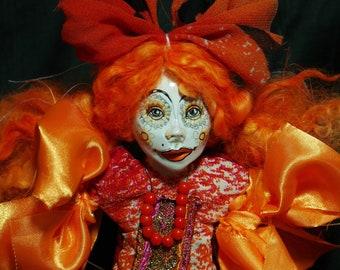 ooak art doll , orange locks, unique, handmade, odd, weird, unusual, trend, angel, stop motion,