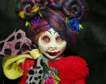 ooak art doll, flower skirt, rainbow  hair, unique, handmade, clown doll girl, weird art, funny art, doll lover