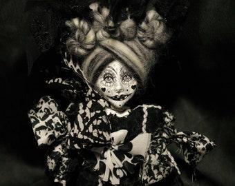 ooak art doll, film noir, black heart, shades of grey, grey hair