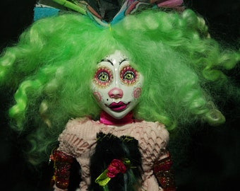 ooak art doll, locks,  unique, handmade, clown doll girl, green hair, trend