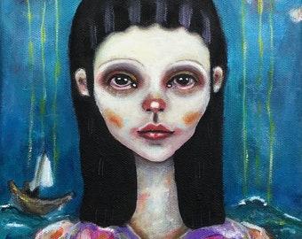 Original, art, figurative painting on Canvas, Girl, landscape, Portrait , small, oilpainting, naive art,