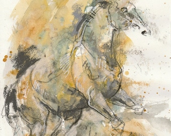 Small Art Pastels Sketch of a Rearing up Horse from my summer vacation