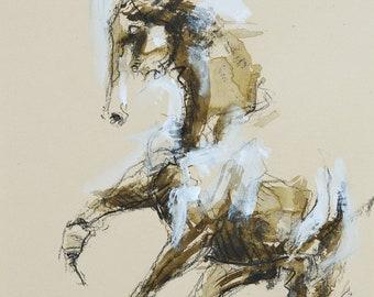 Galloping Horse Drawing, Original Fine Art, Equine Art, Contemporary Art, Modern Art, Animal Art