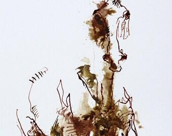 Horse Original Ink Drawing on Paper, Contemporary Art, Modern Art, Expressive Art, Animal, Study, Quick Sketch, Equine Art