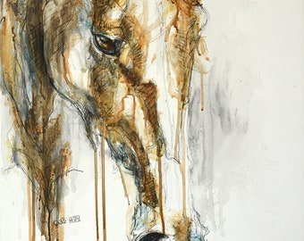 Mixed Media Painting of a Horse, Horse Head, Animal Portrait, Modern Original Fine Art, Equine Art, Contemporary Art
