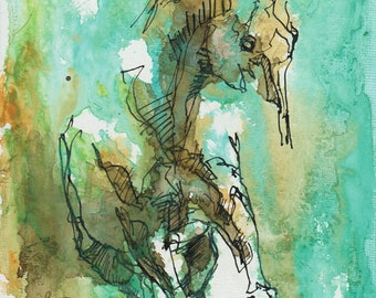 Acrylic and ink Horse Painting, Small Painting on canvas board, Contemporary Horse Art, Original Art