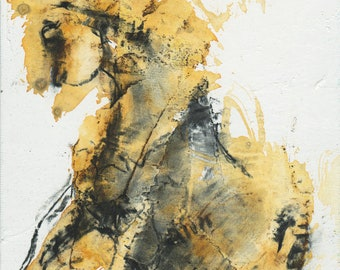 Watercolor and charcoal Horse Painting, Small Painting on canvas board, Contemporary Horse Art, Original Art