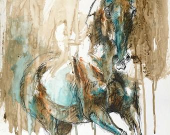 Acrylic painting of a Galloping Horse, Contemporary Original Fine Art, Figurative Art, Animal Art, Equine Artist
