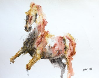 Watercolor painting of a Horse, Contemporary Original Fine Art, Figurative Art, Animal Art, Equine Artist