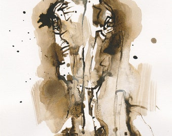 """Small Art Ink Painting of a Horse Head from the """"Just Fluid"""" Collection"""