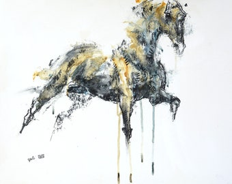 Charcoal and acrylic Drawing of a Galloping Horse, Contemporary Original Fine Art, Figurative Art, Animal Art, Equine Artist