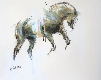 Expressive Painting of a Horse in motion, Contemporary Original Horse Fine Art, Horse Portrait, Animal Art, Equine Art