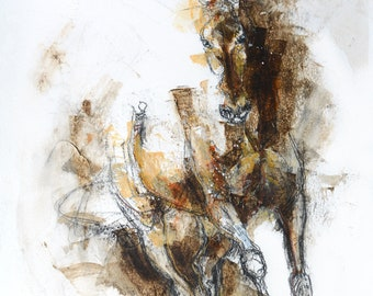 Acrylics and black chalk Painting of a Dressage Horse Contemporary Original Fine Art