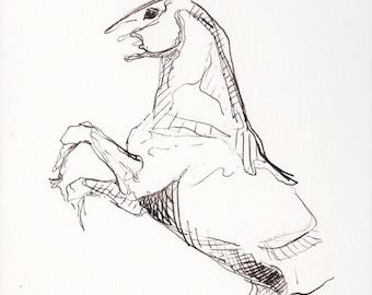Equine Nude 64 - Horse Black Ink Original Drawing