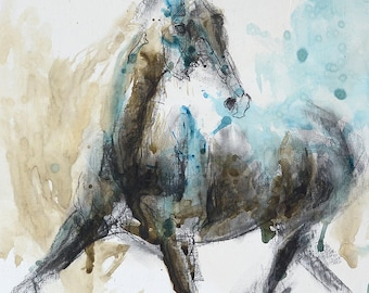 Charcoal and Acrylic Drawing of a Horse, Contemporary Original Fine Art, Figurative Art, Animal Art, Equine Artist