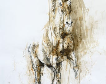 Charcoal and Acrylic Drawing of a Rearing Up Horse, Equine Art, Contemporary Original Fine Art, Animal