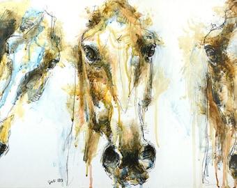 Acrylic Painting of 3 Horses Heads, Animal Portrait, Modern Original Fine Art, Equine Art, Equestrian Styles