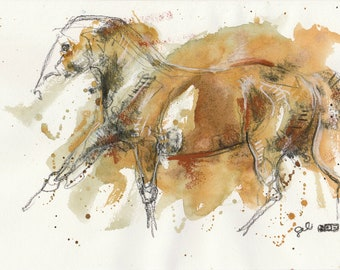Small Art Pastels Sketch of a Galloping Horse from my summer vacation