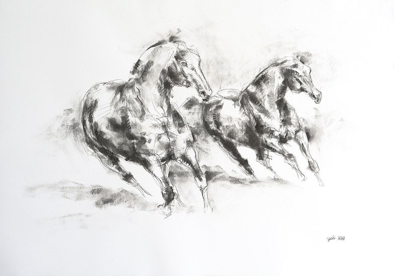 Original Charcoal Drawing of two Horses which impose themself image 1