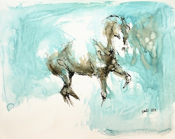 Contemporary Original Fine Art, Acrylic Painting of a Dressage Horse in motion, Horse Portrait, Animal Art