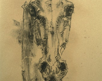 Contemporary Original Fine Art with a charcoal drawing on Brown Paper of a Horse Head