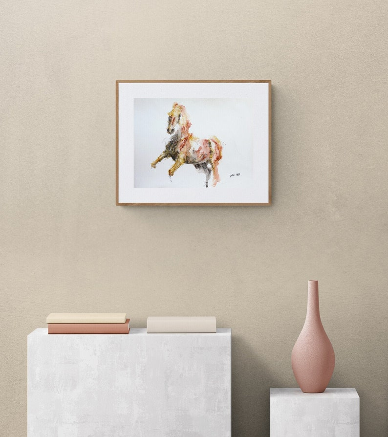 Watercolor Painting of a Galloping Horse Contemporary image 1